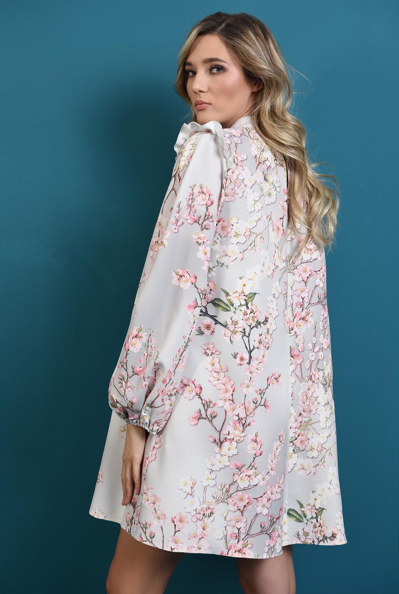 1 - rochie cu imprimeu, cu pliuri, maneci bufante, print floral