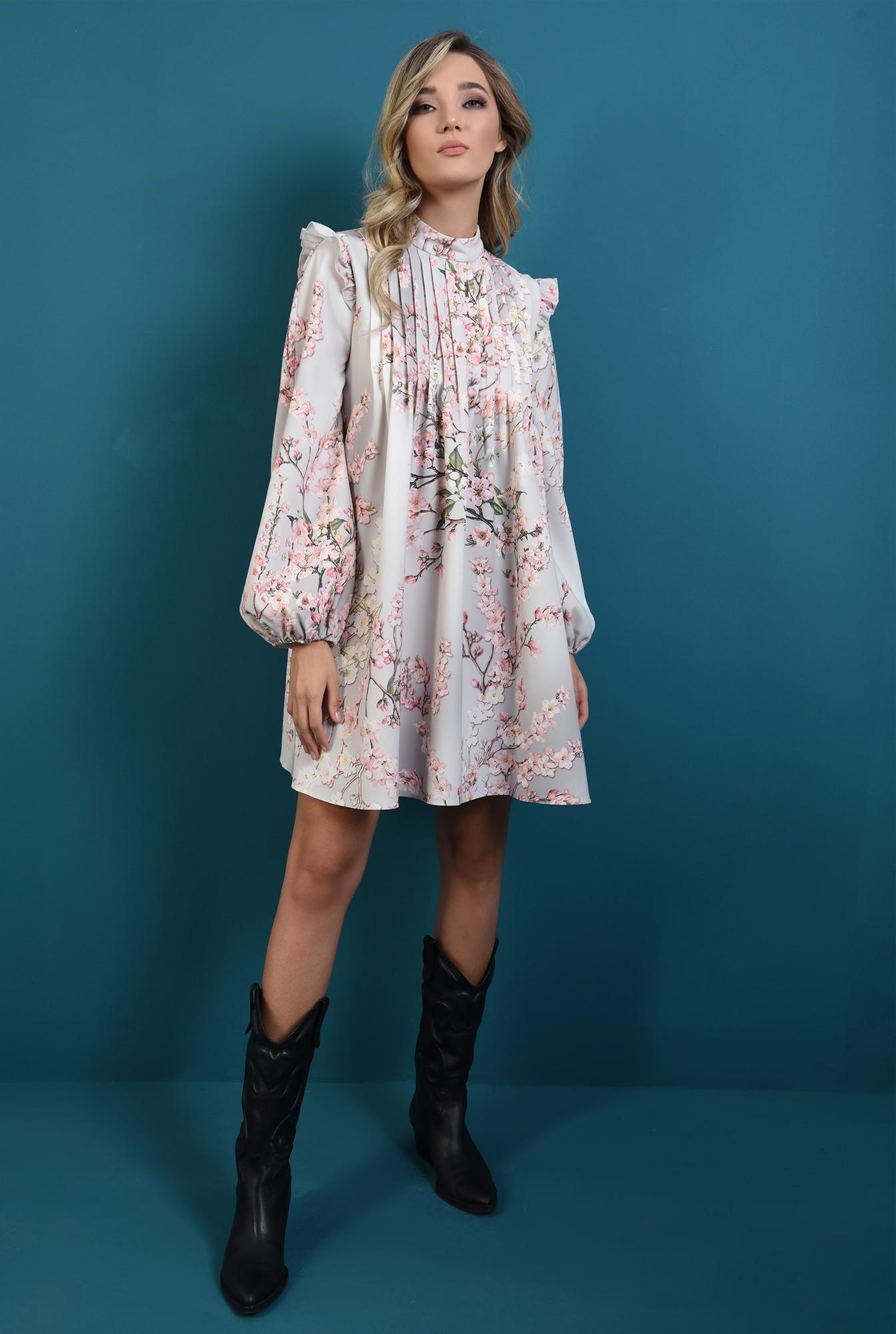 0 - rochie cu imprimeu, cu pliuri, maneci bufante, print floral