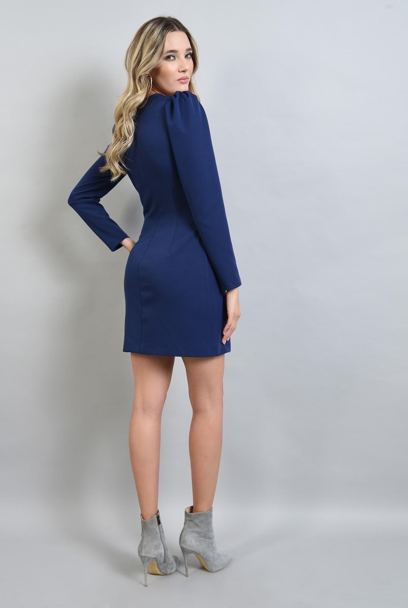 1 - rochie albastra, cu decolteu in V, cu umeri bufanti