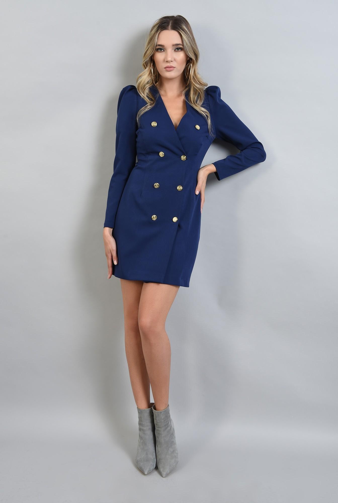 0 - rochie albastra, cu decolteu in V, cu umeri bufanti