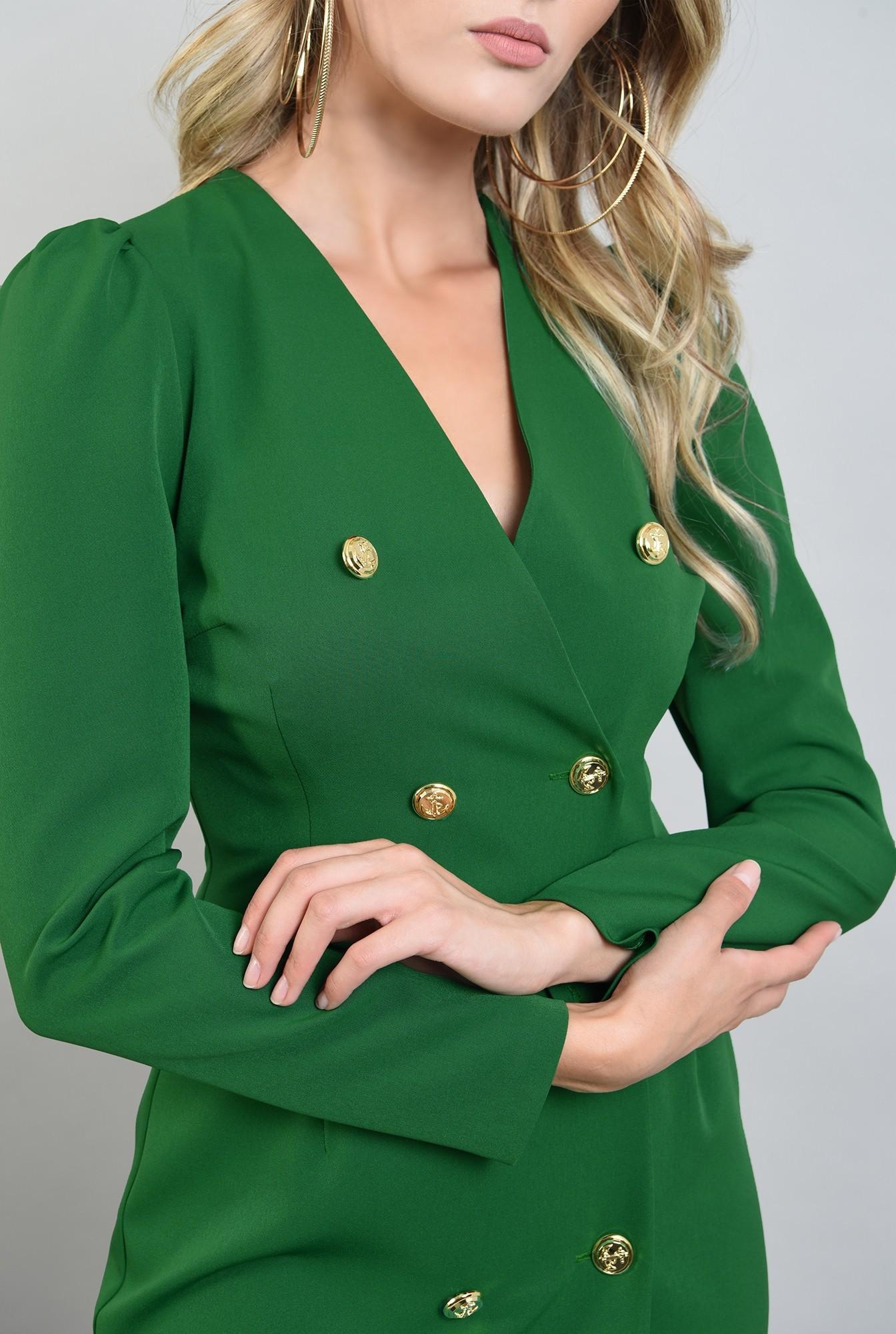 2 - rochie scurta, verde, cu maneca lunga
