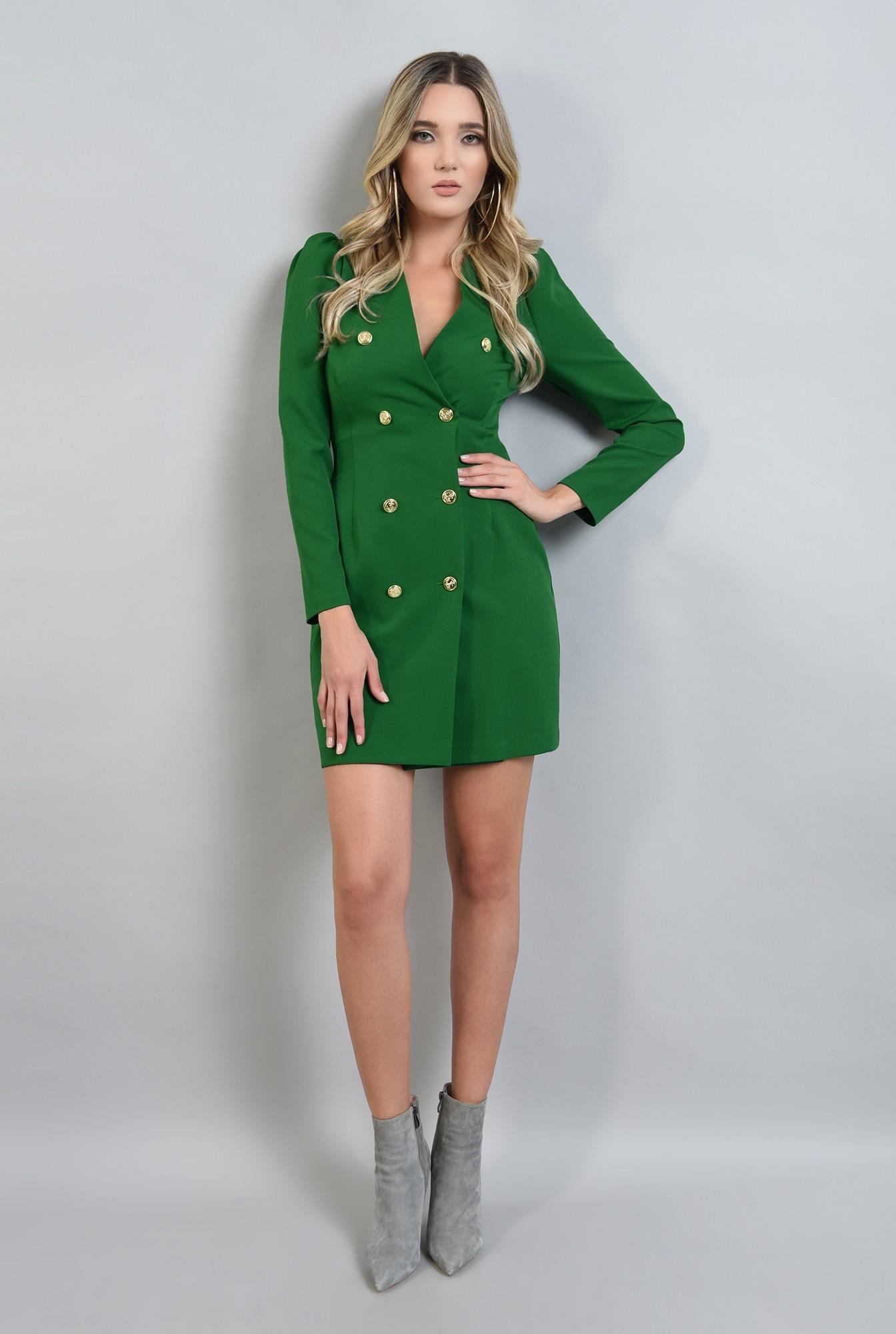 0 - rochie scurta, verde, cu maneca lunga