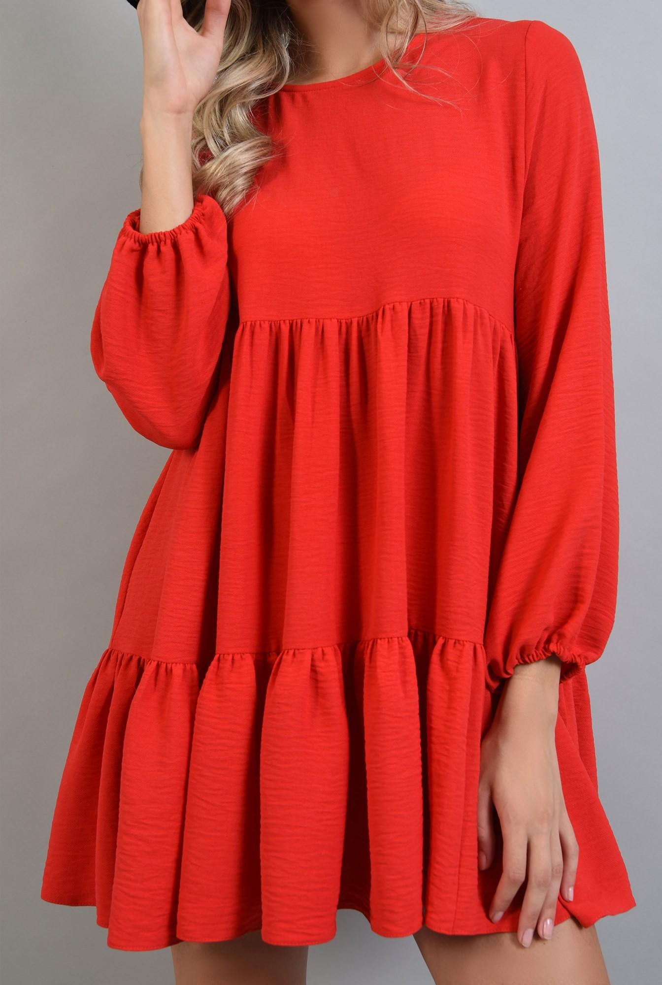 2 - 360 - rochie larga rosie, maneca lunga, Poema