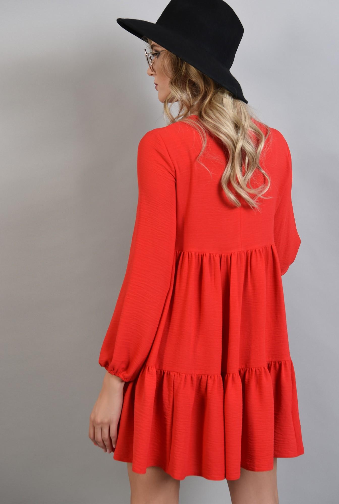 1 - 360 - rochie larga rosie, maneca lunga, Poema