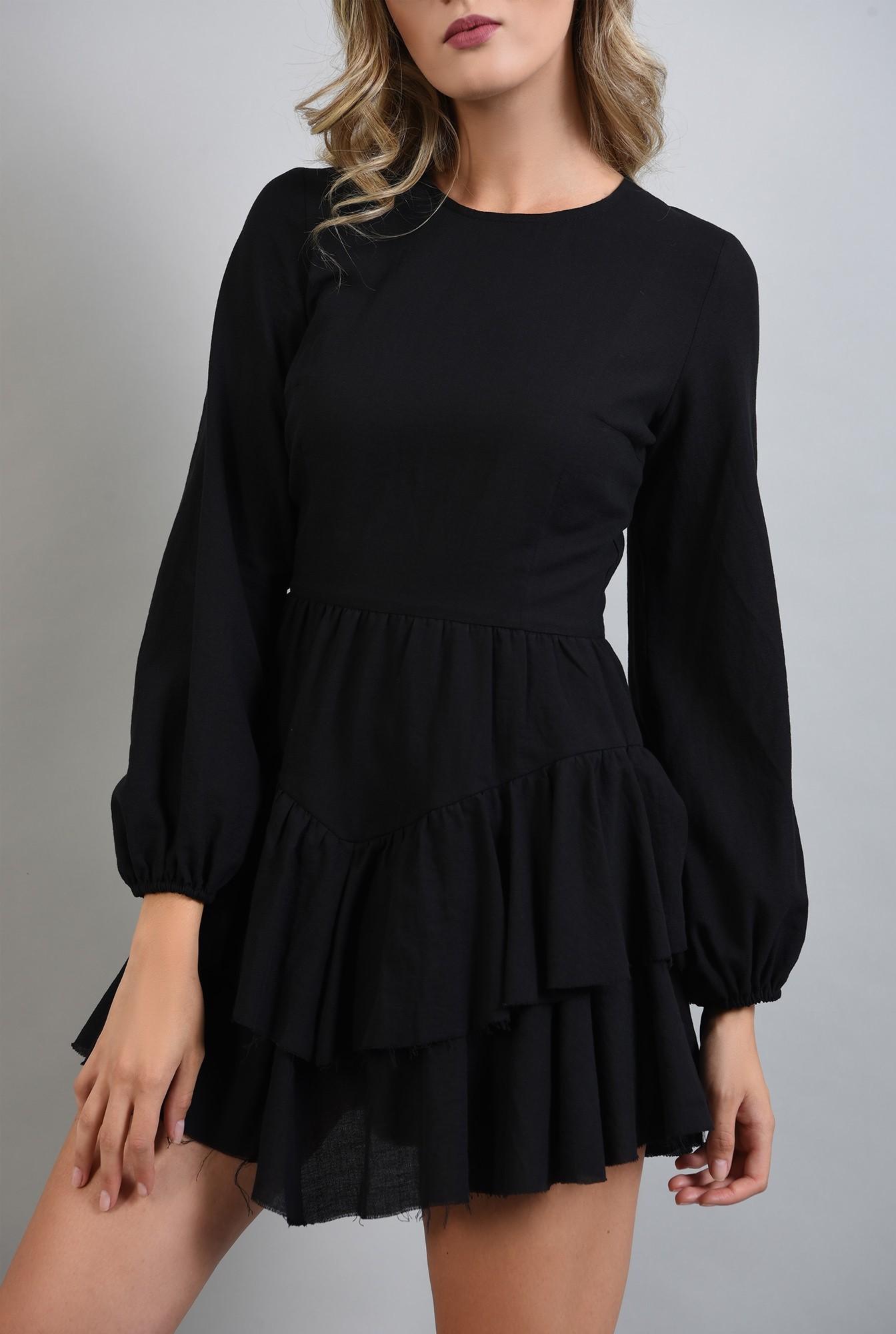 2 - rochie neagra cu volane, maneci bufante, Poema
