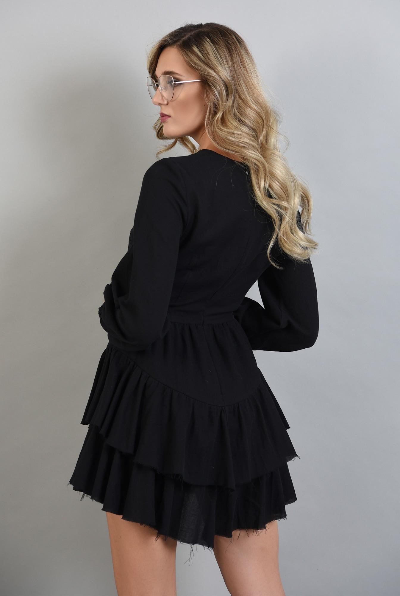 1 - rochie neagra cu volane, maneci bufante, Poema