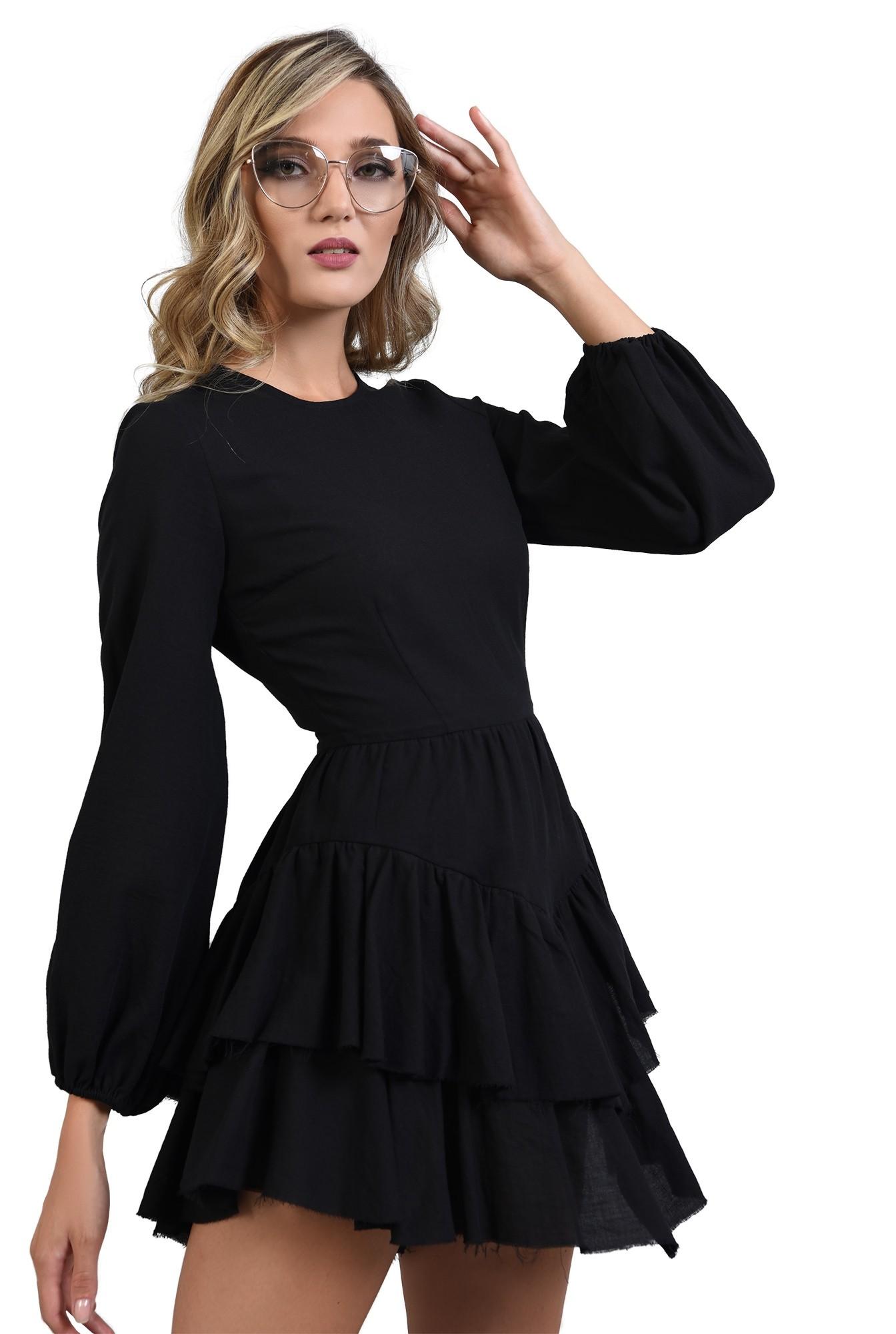 3 - rochie neagra cu volane, maneci bufante, Poema