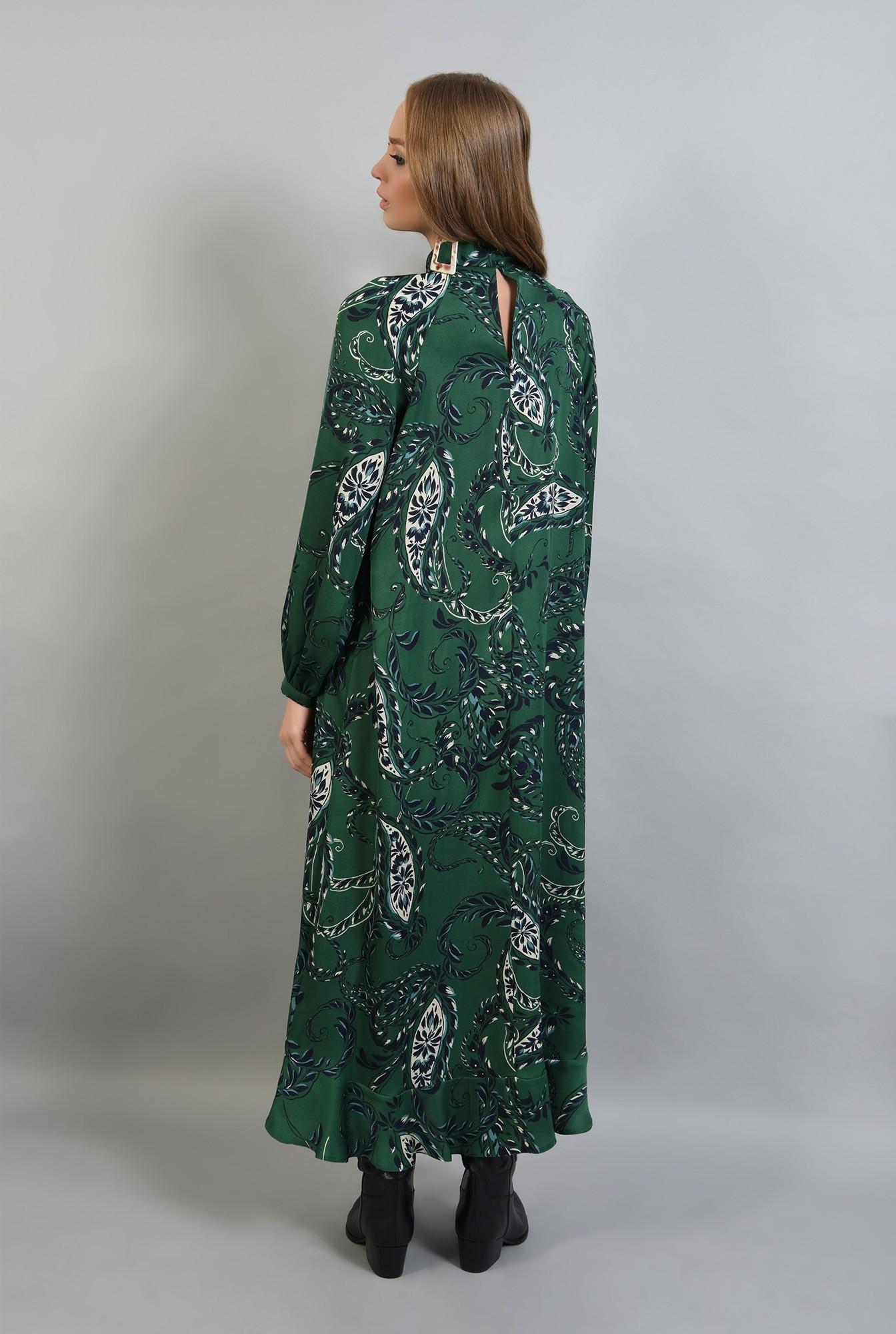 2 - 360 - rochie lunga verde, cu imprimeu, Poema