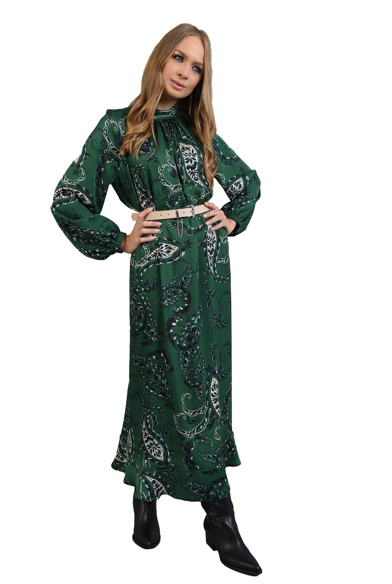 3 - 360 - rochie lunga verde, cu imprimeu, Poema