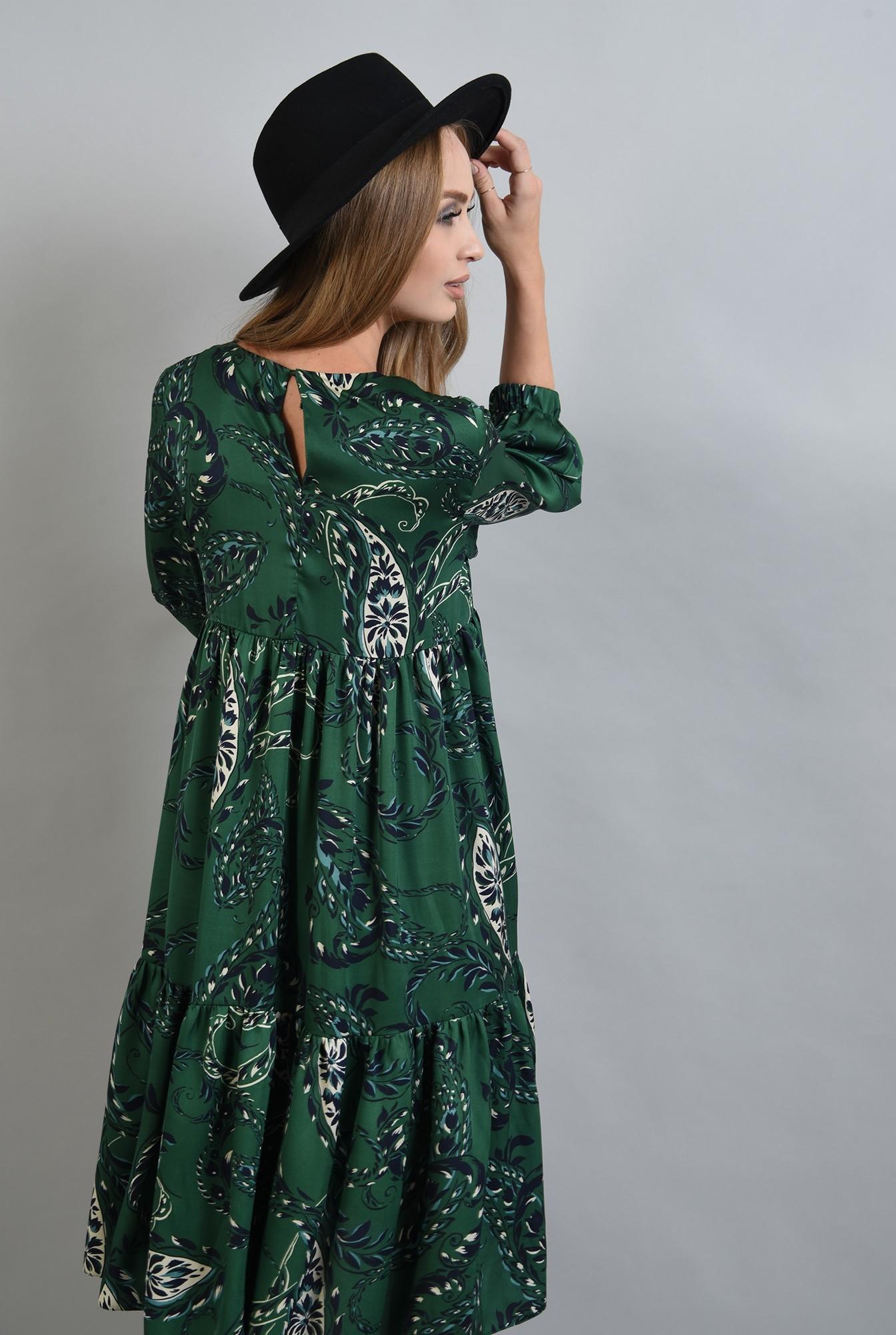 2 - 360 - rochie din satin, cu imprimeu, maneci midi, talie empire