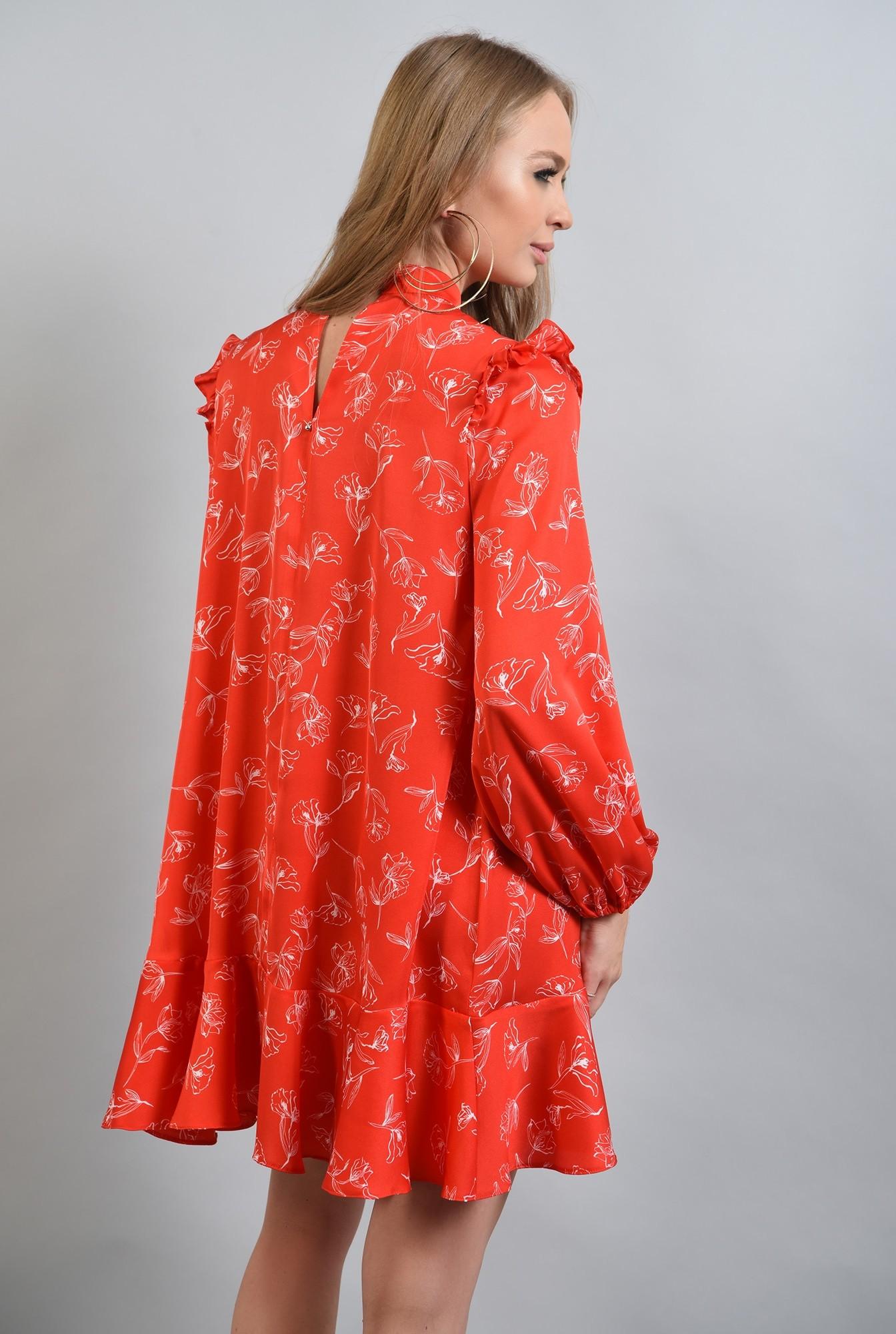 1 -  rochie rosie, mini, cu volan la baza, maneci bufante