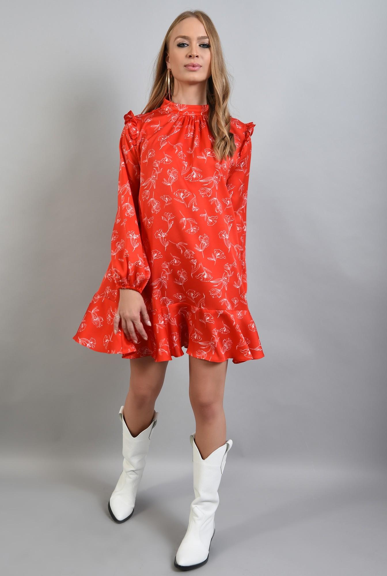 3 -  rochie rosie, mini, cu volan la baza, maneci bufante