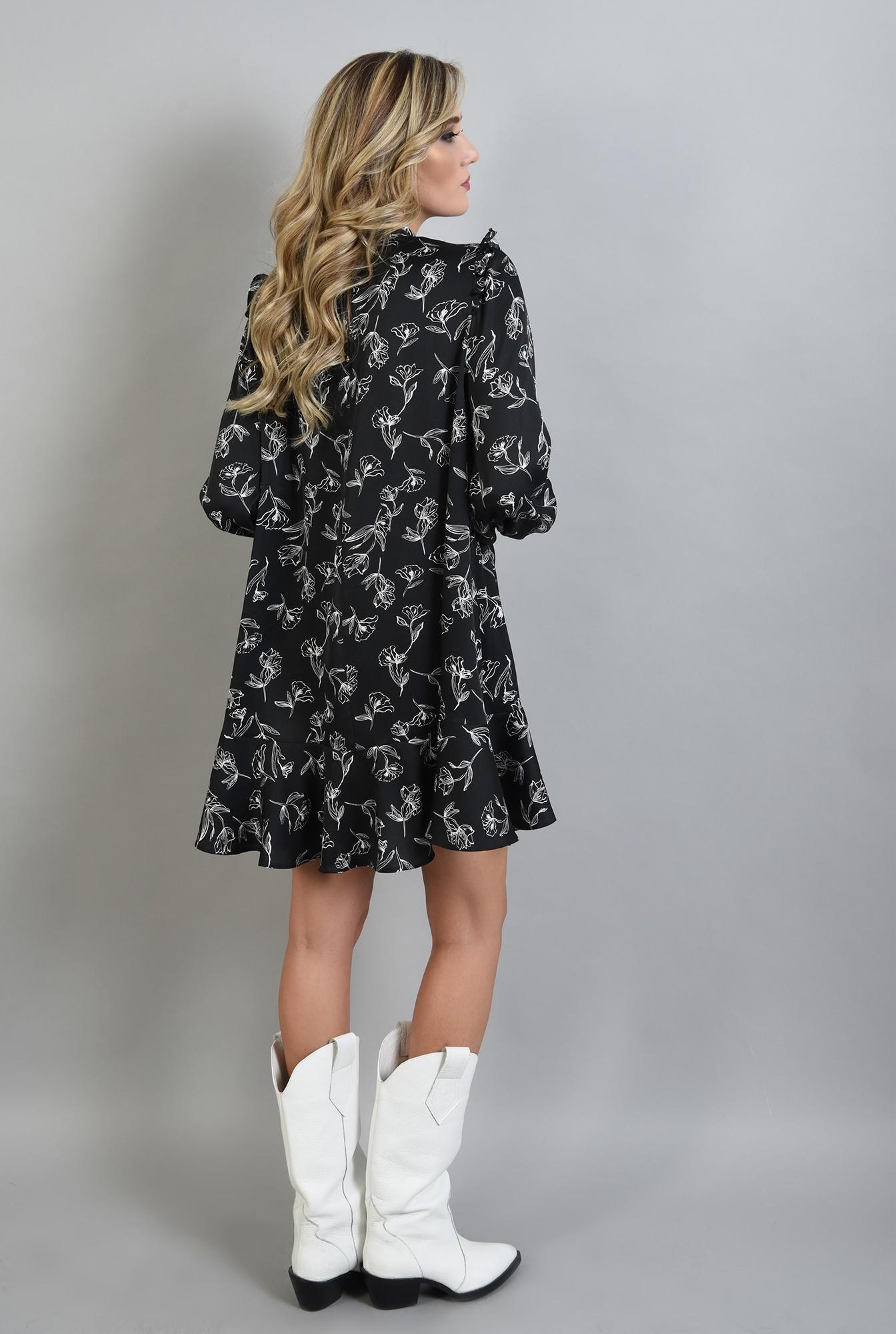 1 - rochie neagra, mini, cu volan la baza, maneci bufante