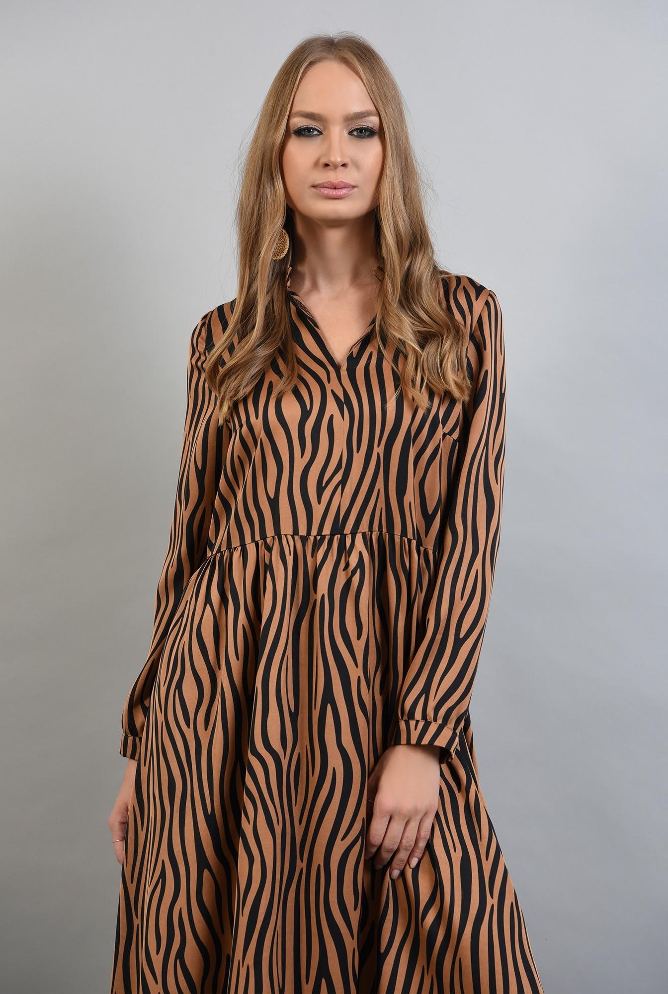1 - rochie din satin, cu imprimeu, maneci lungi, anchior, zebra