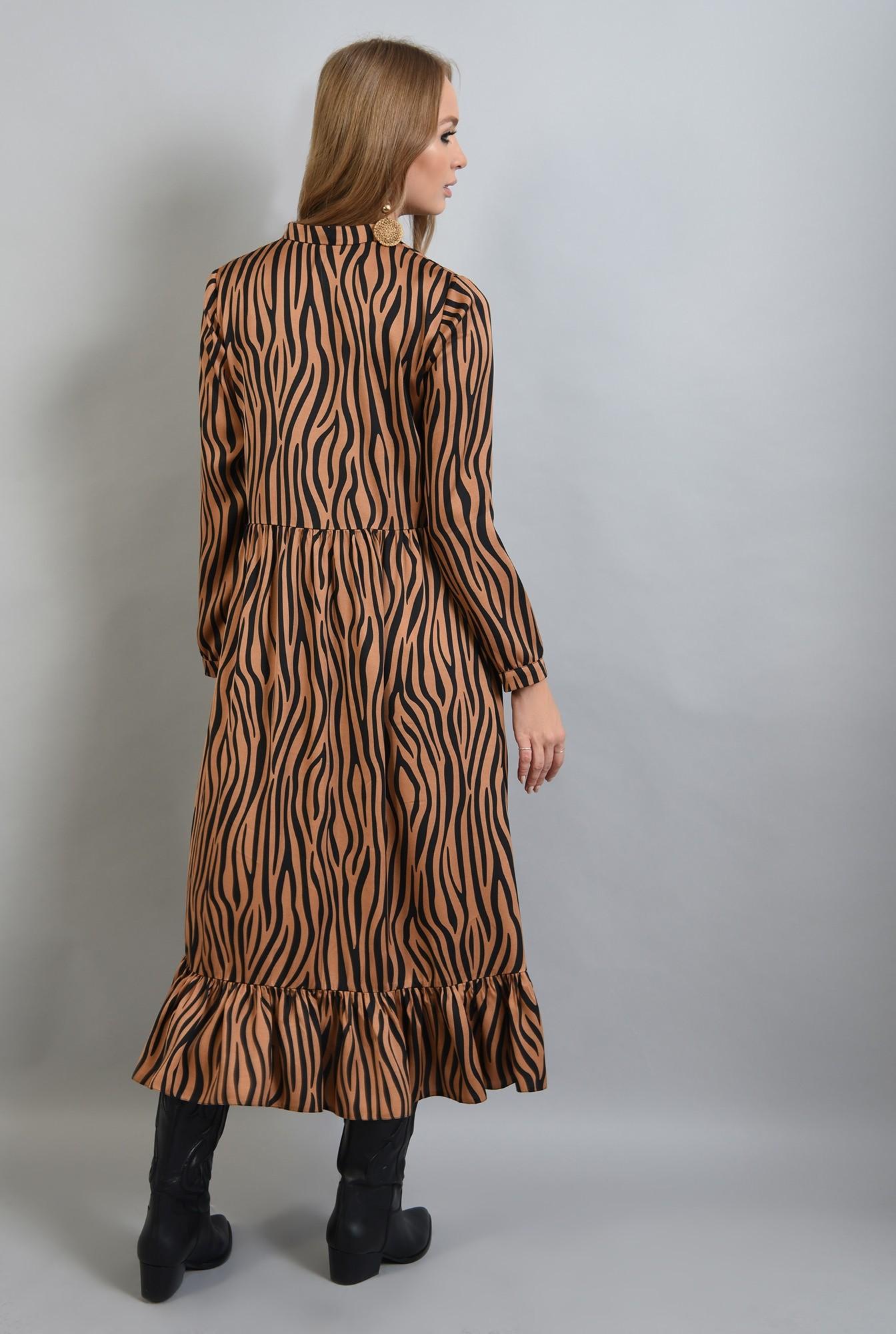 2 - rochie din satin, cu imprimeu, maneci lungi, anchior, zebra