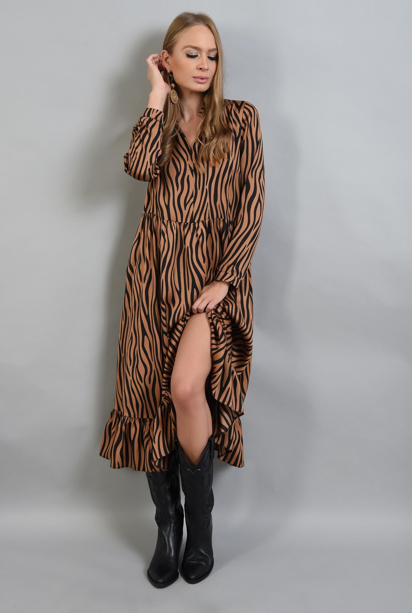0 - rochie din satin, cu imprimeu, maneci lungi, anchior, zebra