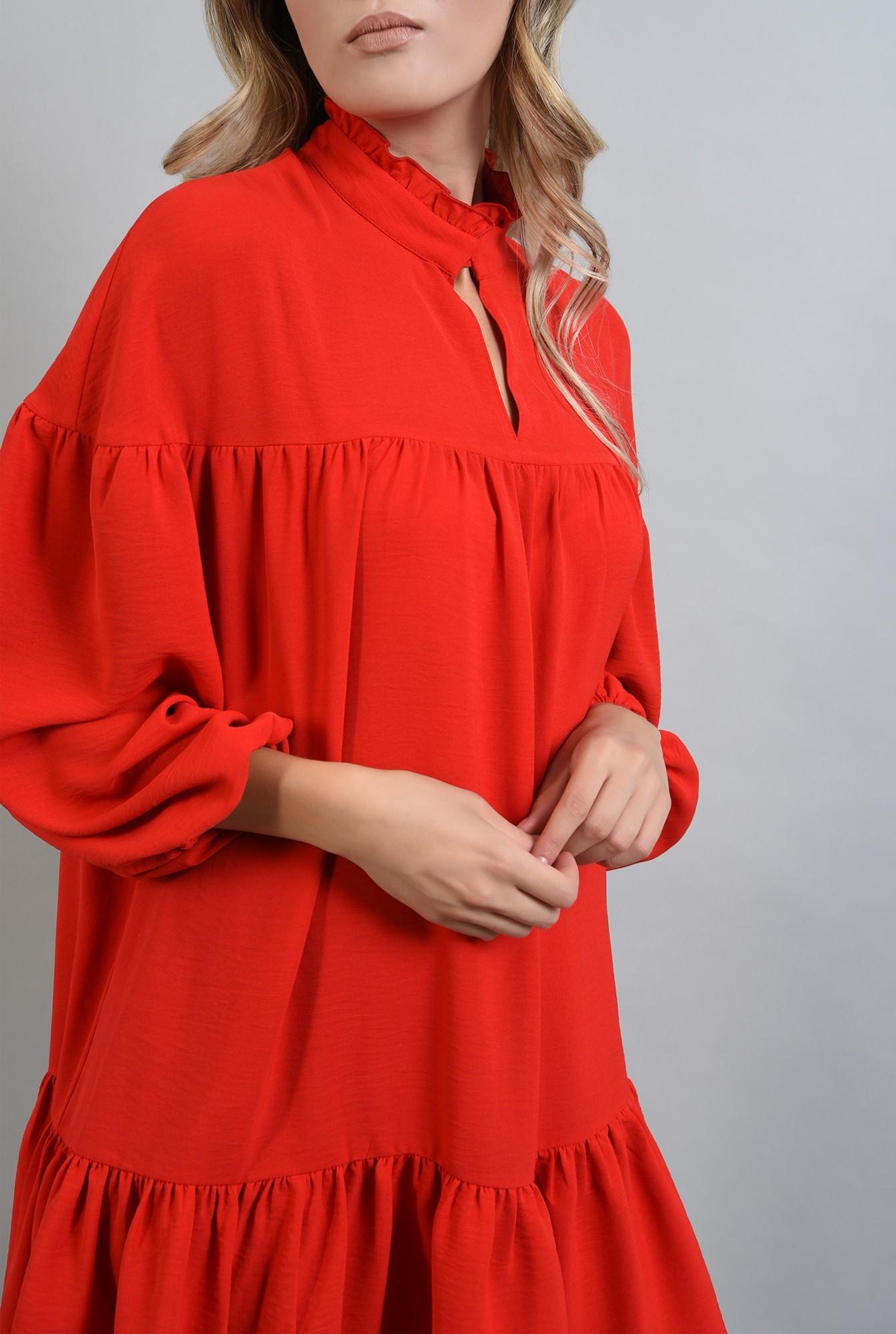 2 - rochie rosie mini, larga, cu guler, Poema