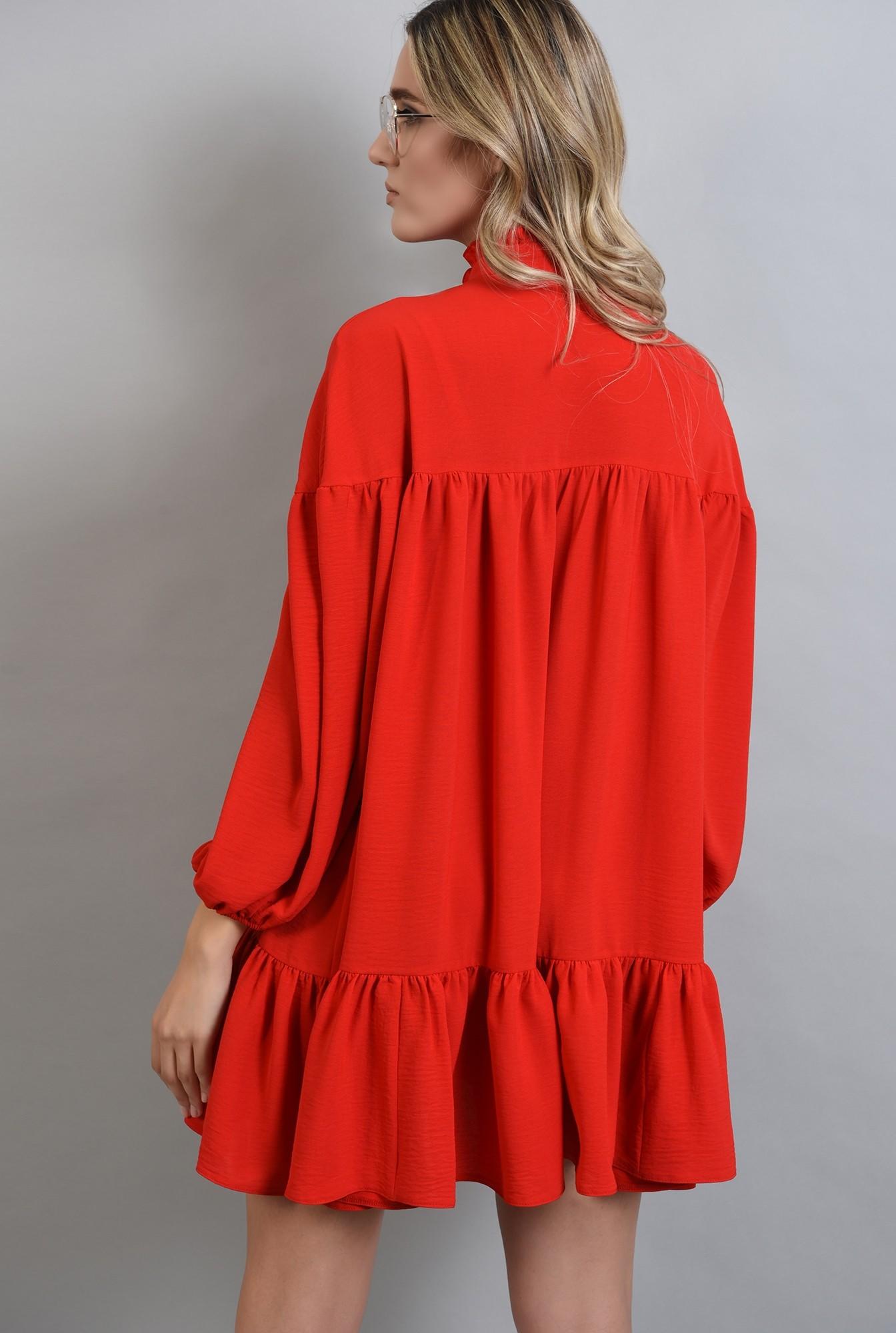 1 - rochie rosie mini, larga, cu guler, Poema