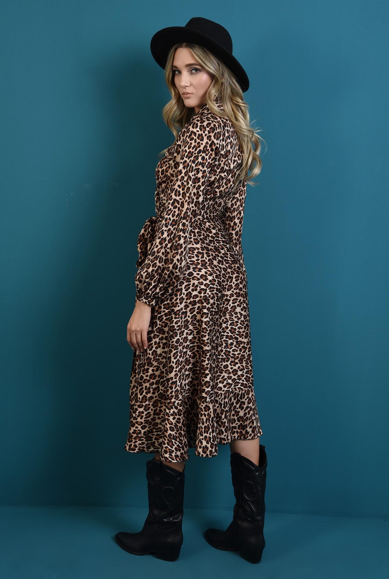 1 - rochie midi, cu imprimeu leopard, cu maneca lunga