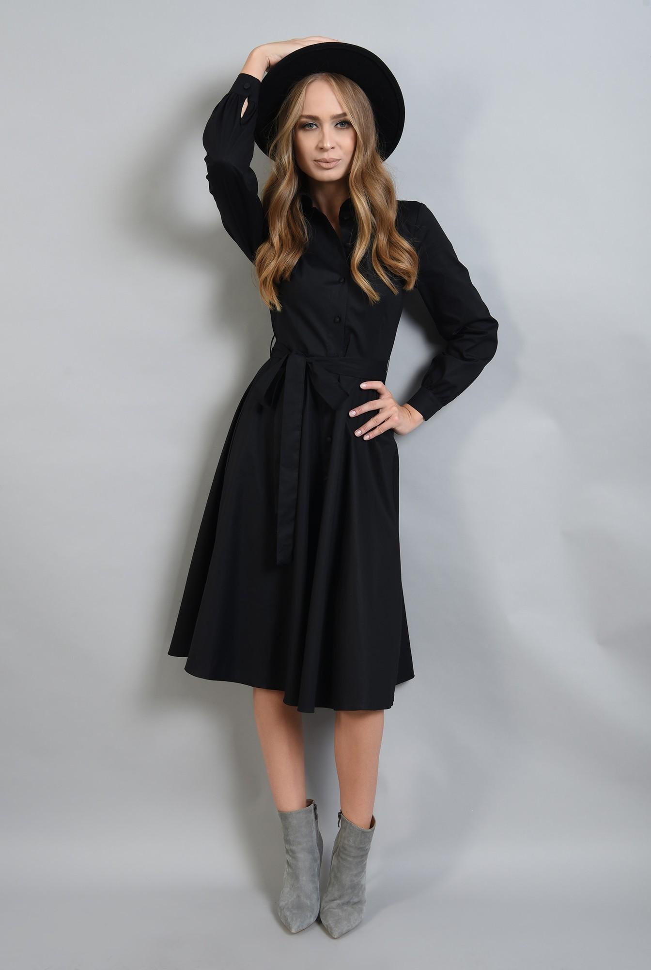 1 - rochie neagra midi, evazata, cu maneca lunga