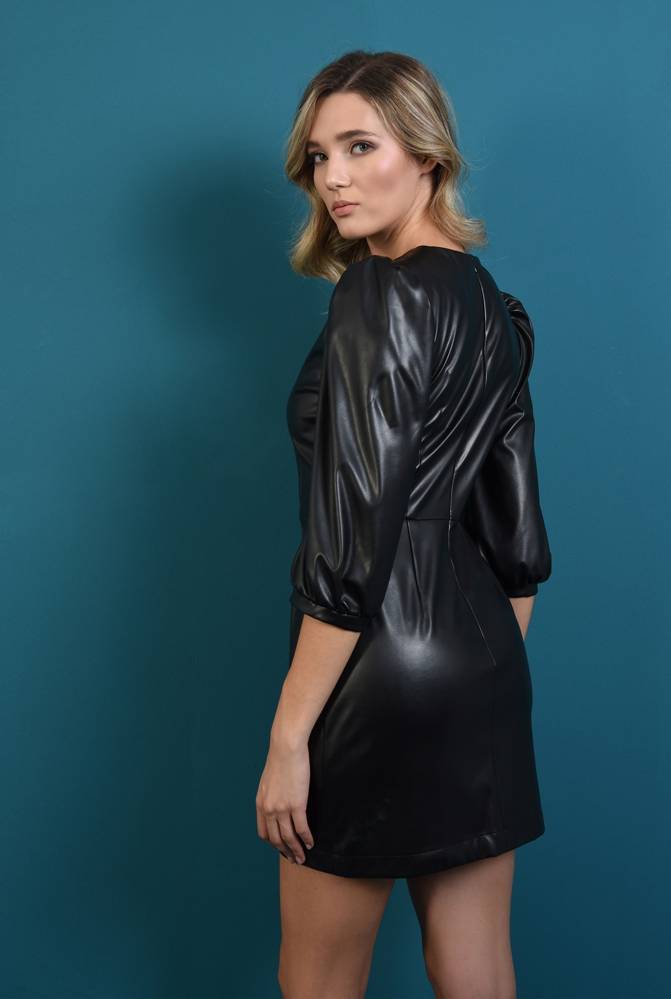 1 - rochie neagra scurta, din piele eco, cu maneca bufanta