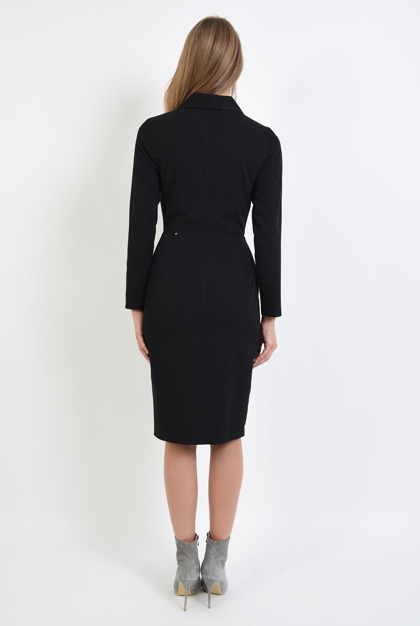 1 - 360 - rochie neagra, midi, cu revere
