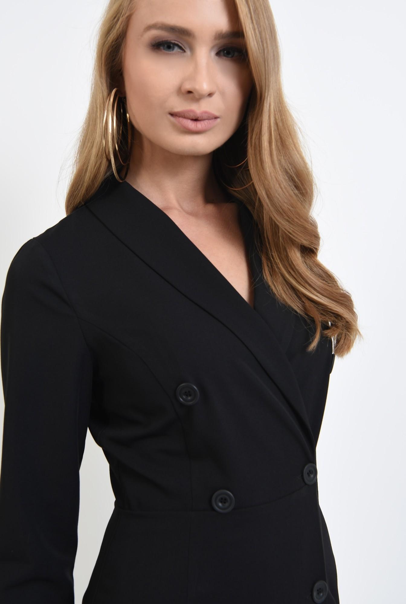 2 - 360 - rochie neagra, midi, cu revere