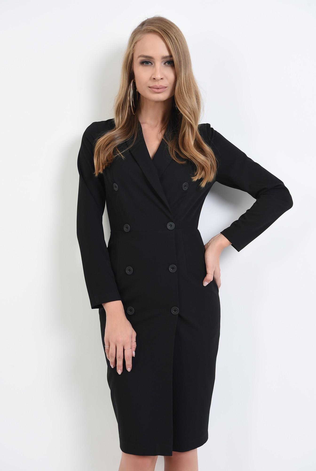 0 - 360 - rochie neagra, midi, cu revere
