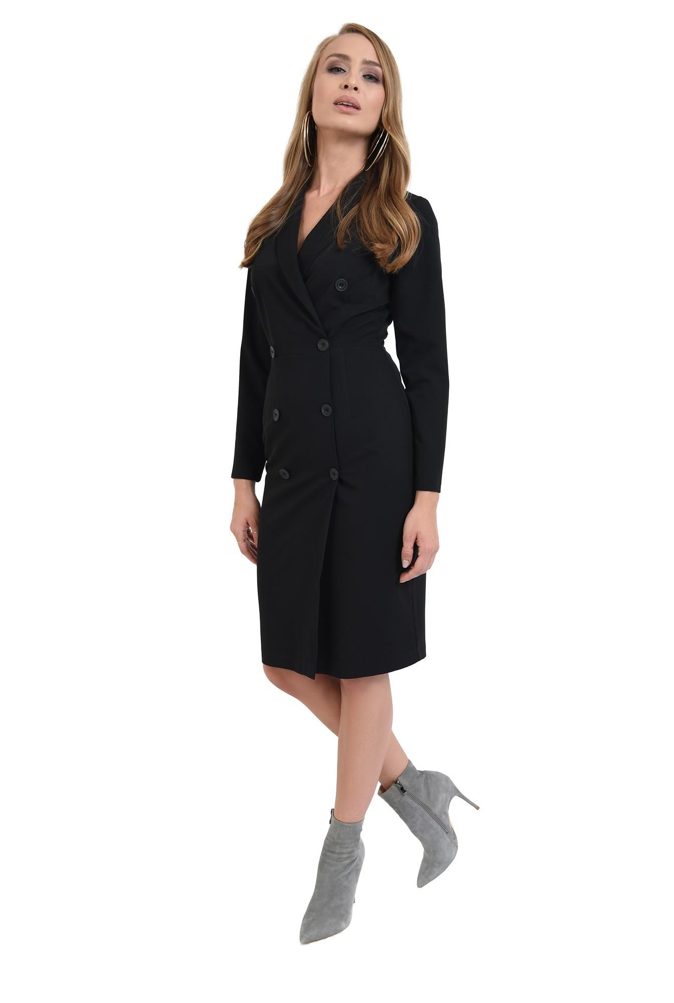 3 - 360 - rochie neagra, midi, cu revere