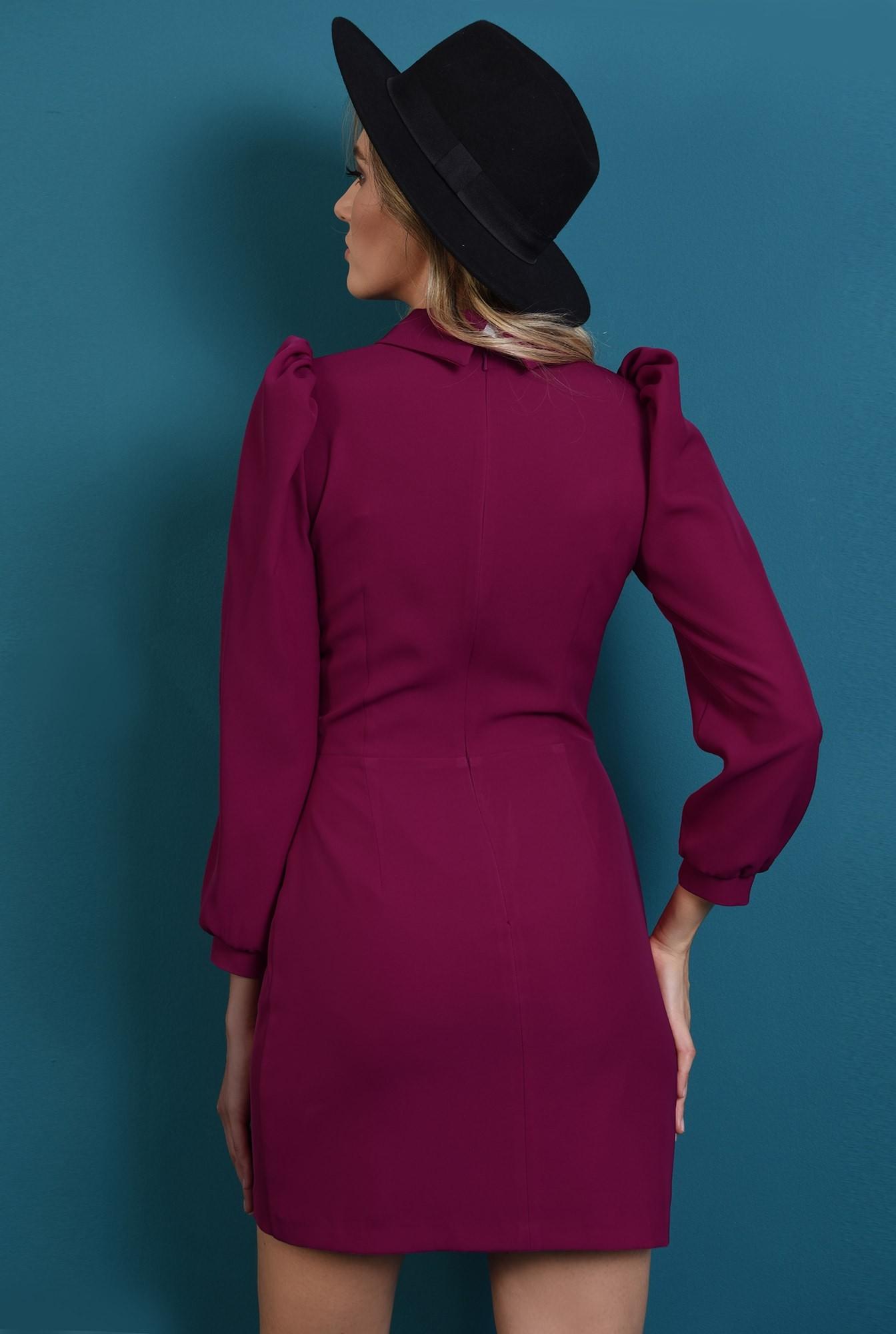 1 - rochie scurta, ciclamen, cu guler, cu funda alba