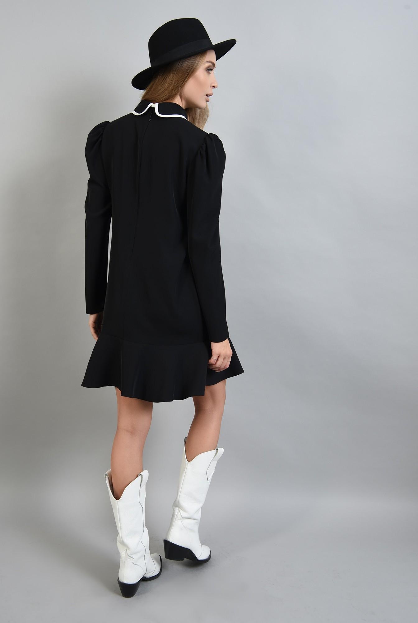 1 - rochie neagra, cu maneca lunga, cu funda alba