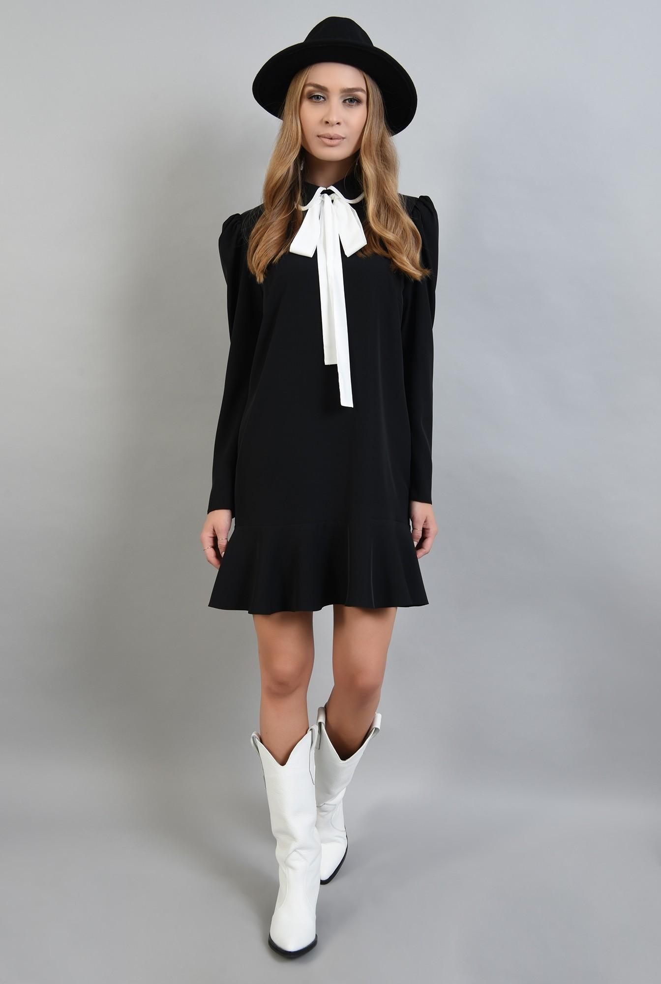 0 - rochie neagra, cu maneca lunga, cu funda alba