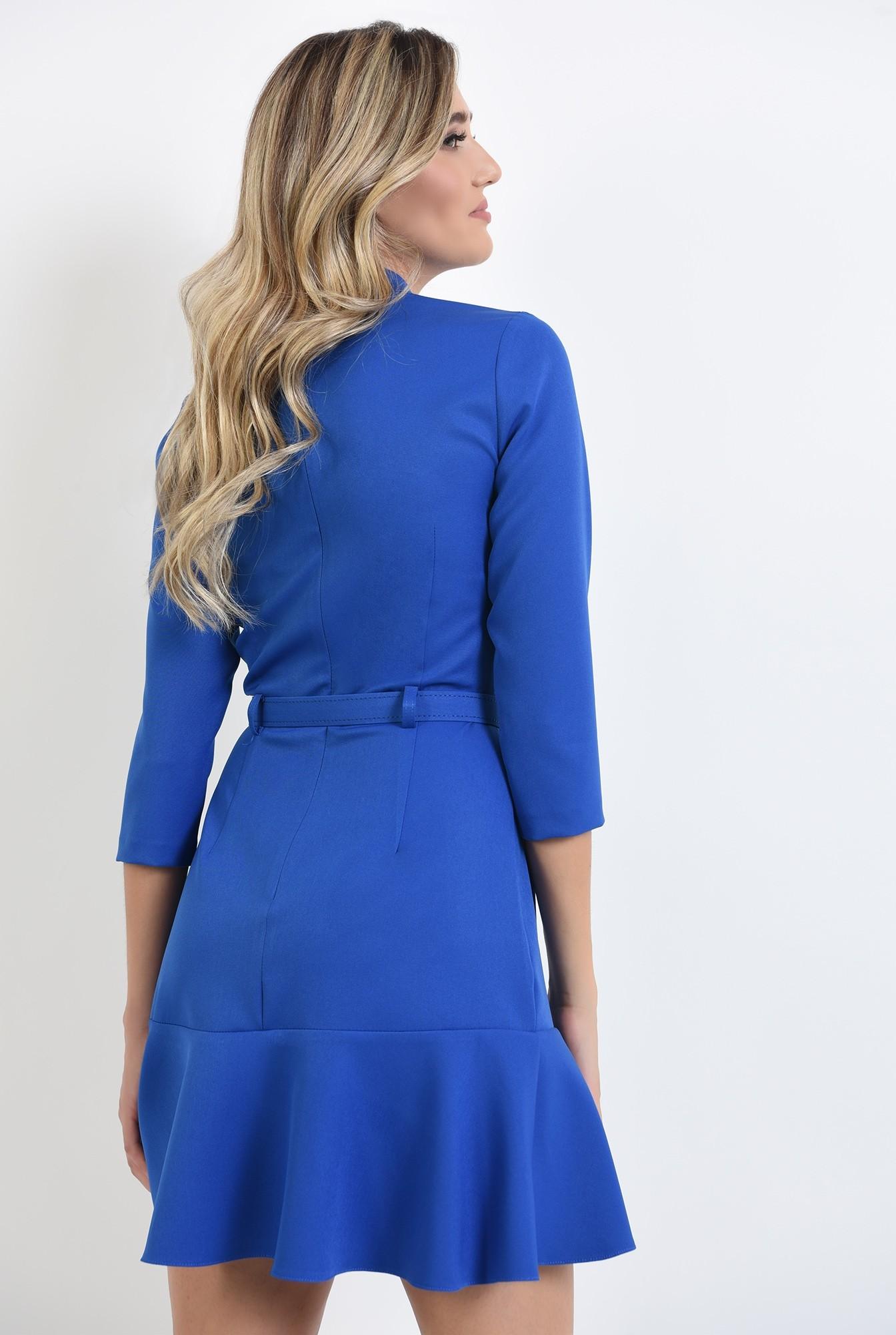 1 - 360 - rochie mini, albastra, cu volan, cu guler inalt