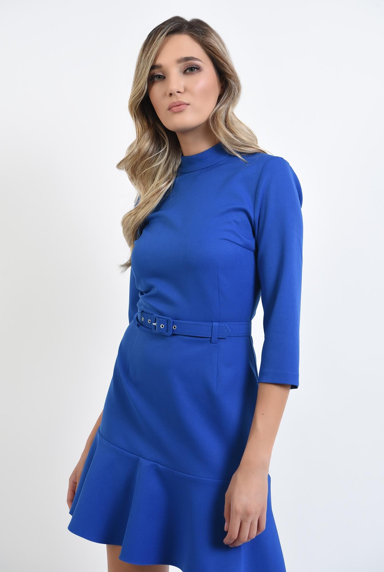 0 - 360 - rochie mini, albastra, cu volan, cu guler inalt