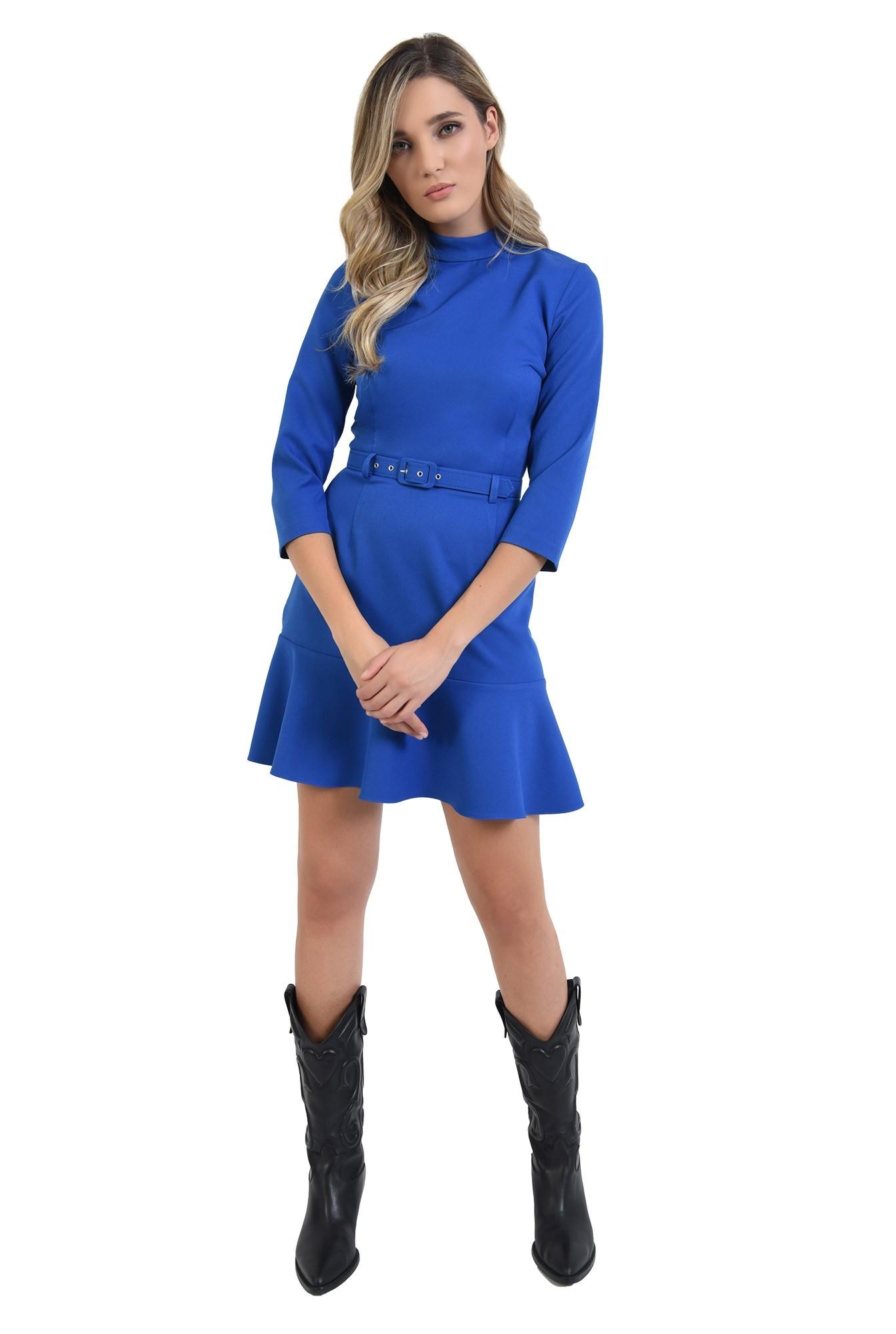 3 - 360 - rochie mini, albastra, cu volan, cu guler inalt