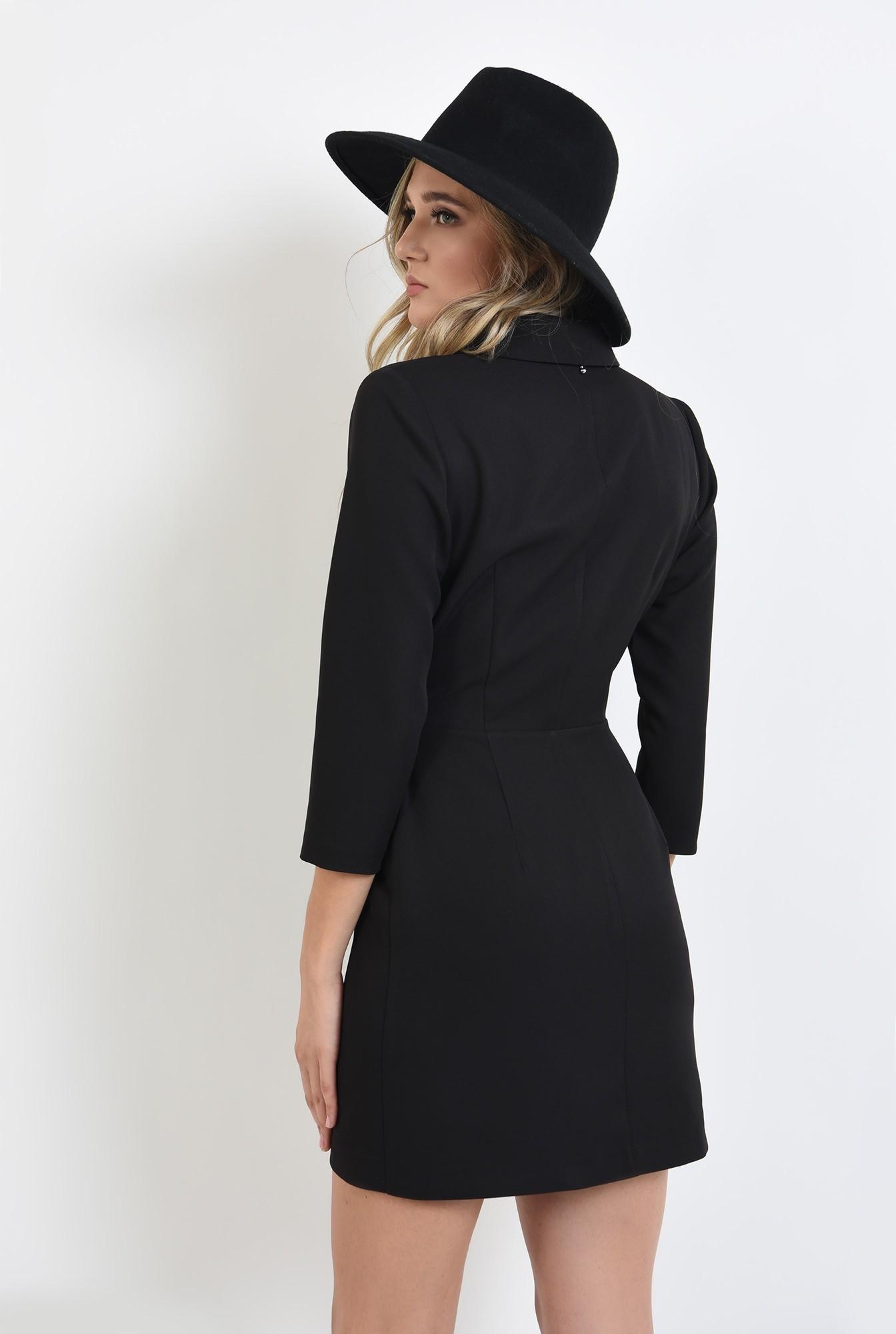 1 - rochie mini, neagra, tip sacou, cu nasturi argintii