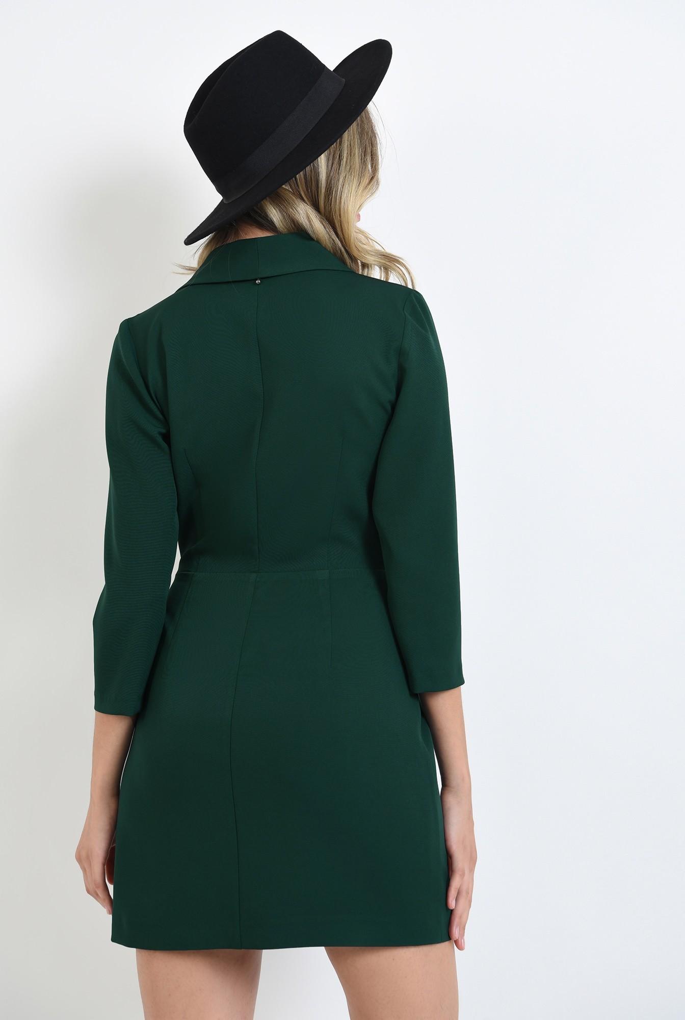 1 - 360 - rochie verde, scurta, tip sacou, cu maneca trei sferturi