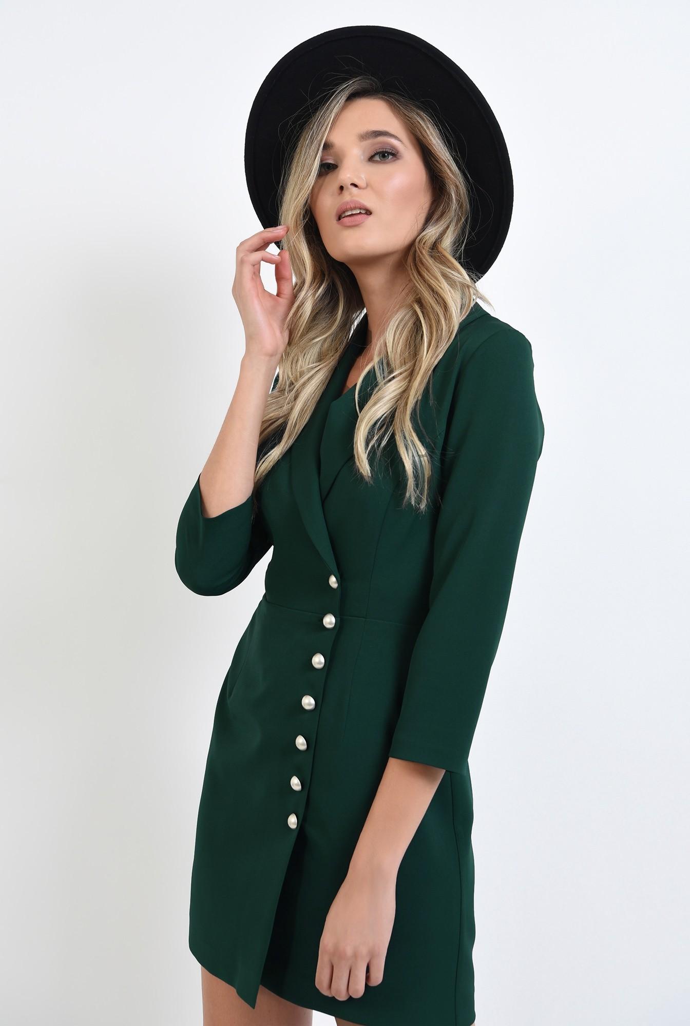 0 - 360 - rochie verde, scurta, tip sacou, cu maneca trei sferturi