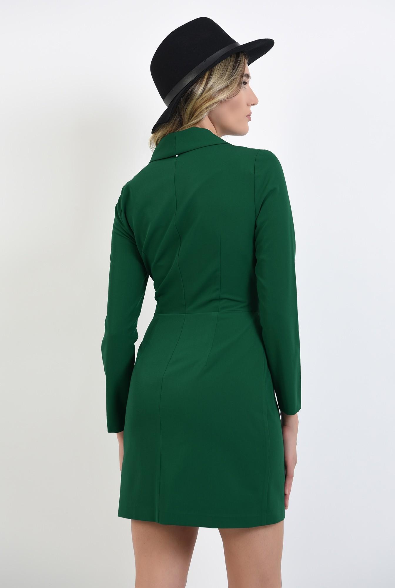 1 - rochie stil blazer, scurta, verde