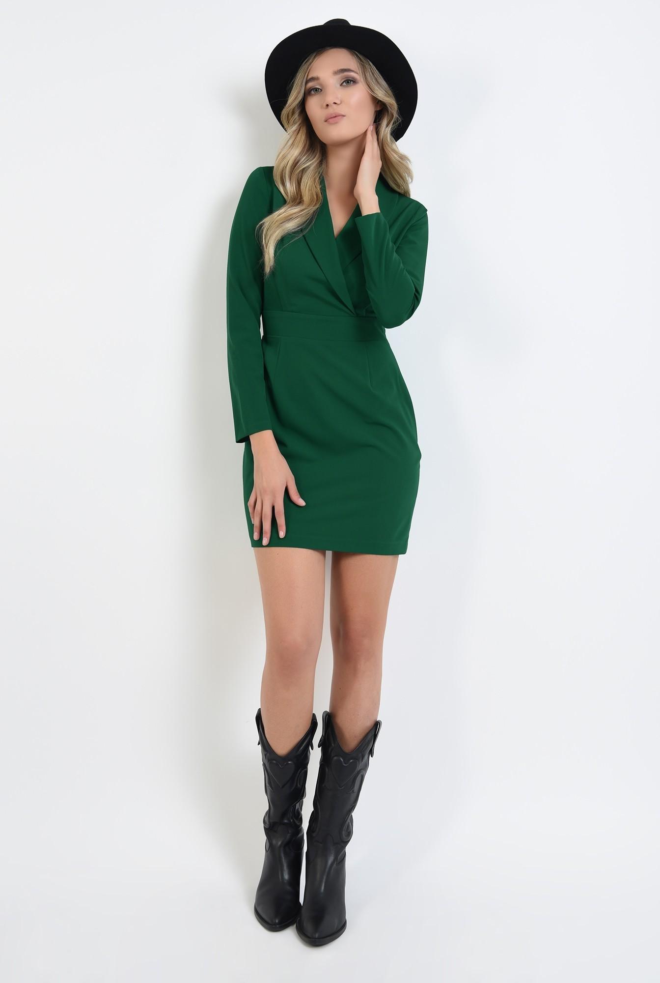 0 - rochie stil blazer, scurta, verde