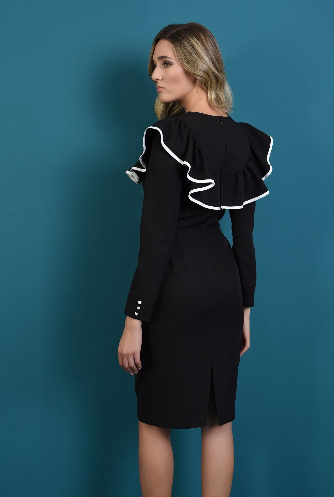 1 - rochie cu volan in contrast, cu maneca lunga
