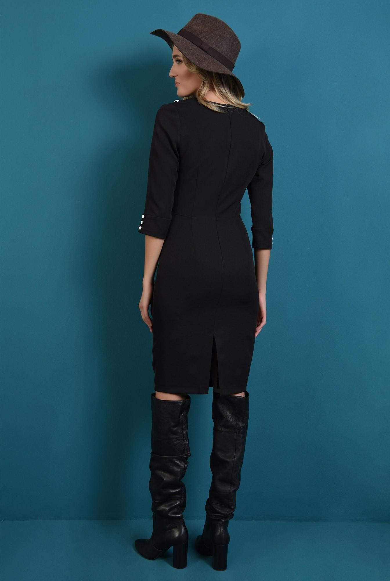 1 - 360 - rochie neagra, cu guler, conica