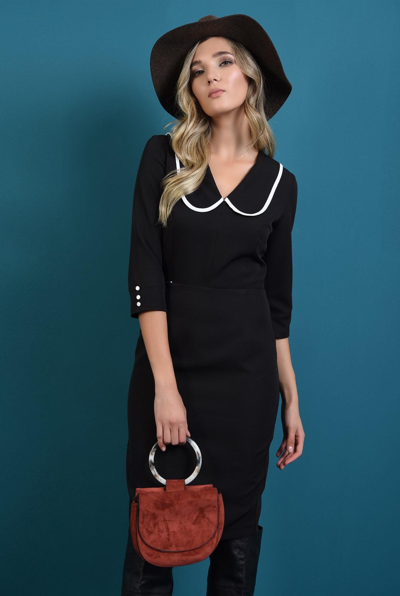 0 - 360 - rochie neagra, cu guler, conica