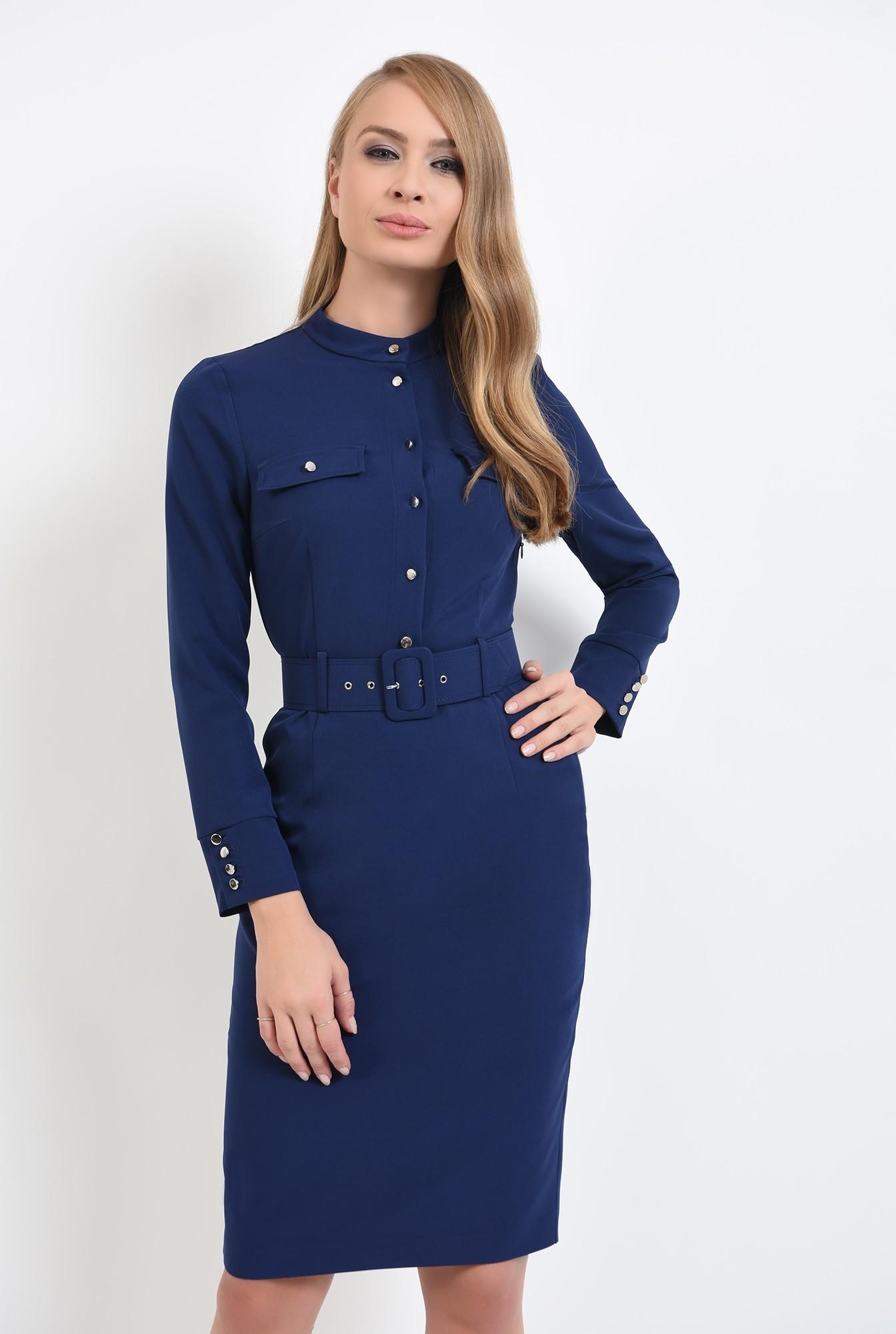 0 - rochie mici, conica, navy, cu buzunare decorative