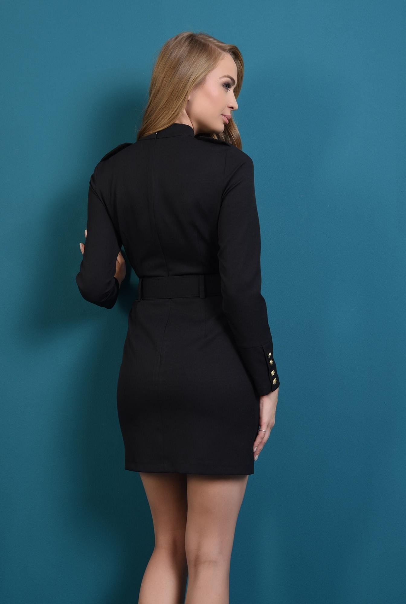 1 -  rochie mini, curea, cambrata, maneci cu nasturi, neagra, Poema