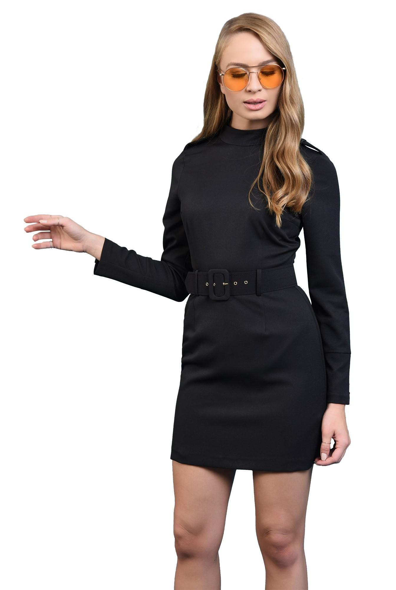 3 -  rochie mini, curea, cambrata, maneci cu nasturi, neagra, Poema