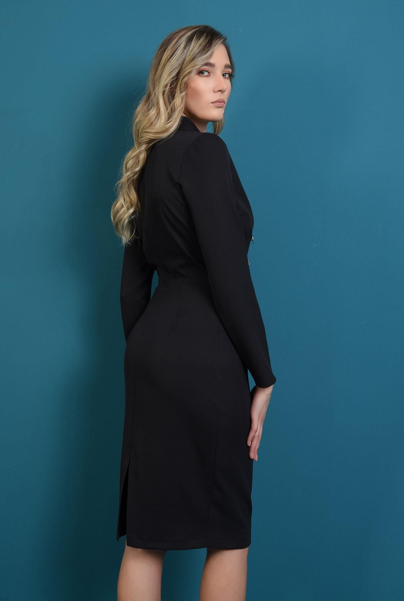 1 - rochie tip blazer, cu maneca lunga, cu slit la spate