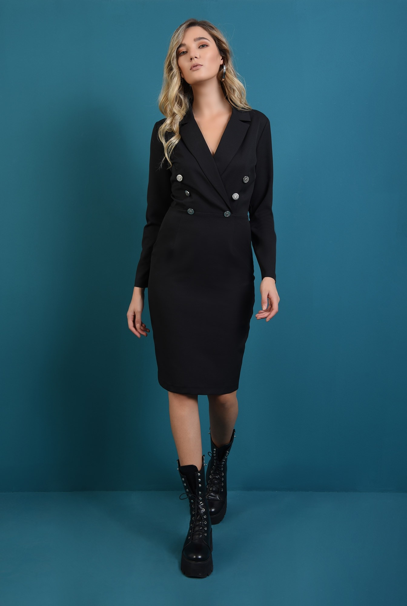 0 - rochie tip blazer, cu maneca lunga, cu slit la spate