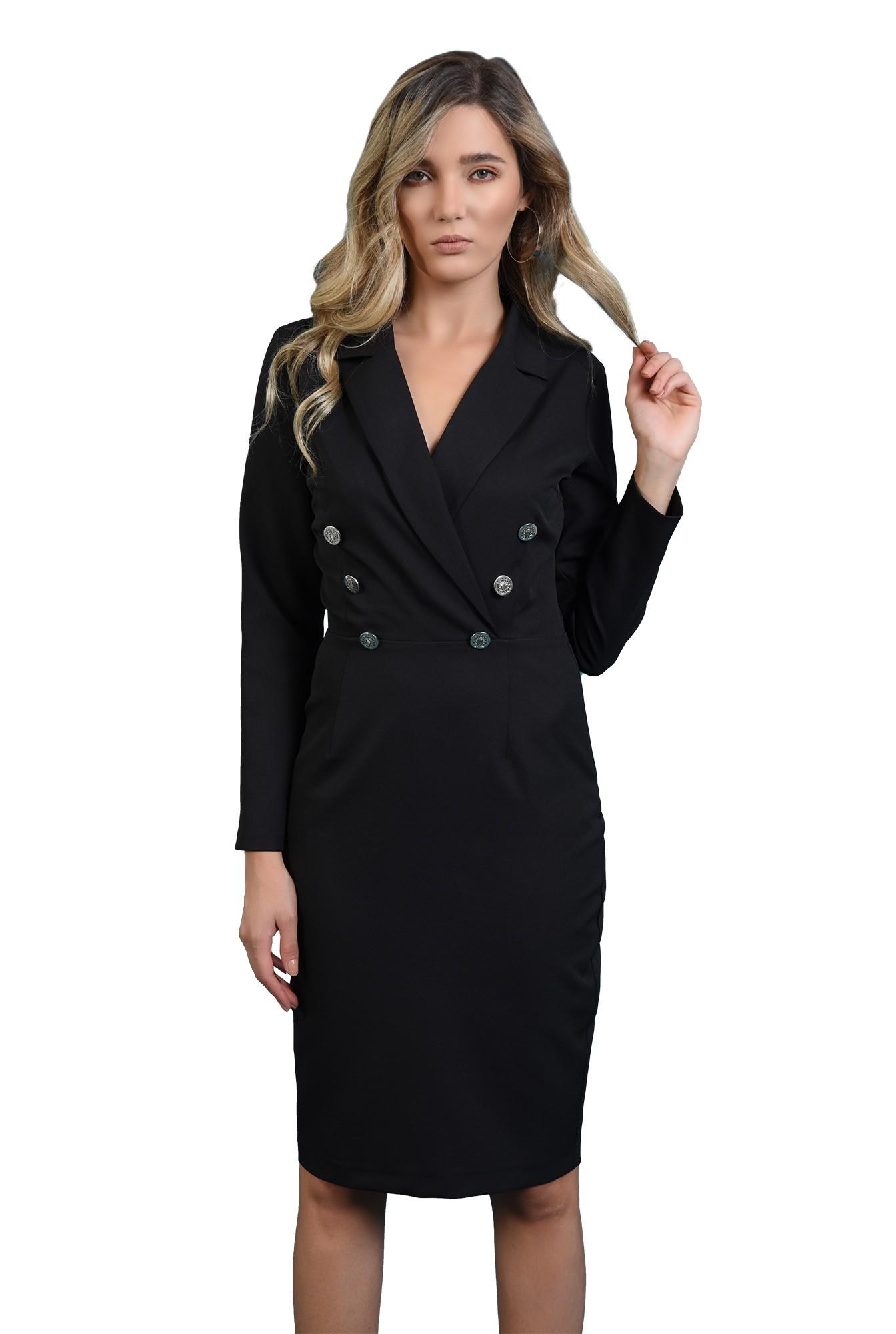 3 - rochie tip blazer, cu maneca lunga, cu slit la spate