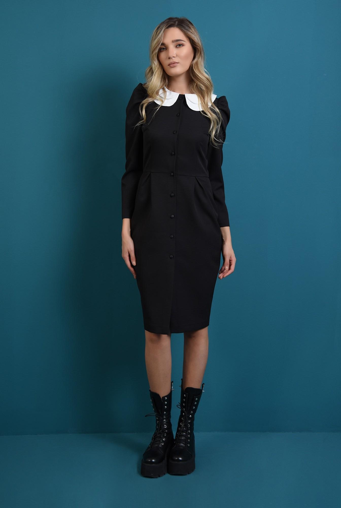 0 - rochie neagra, cu guler detasabil, cu umeri accentuati